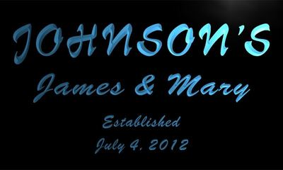 x1002-tm Johnsons Wedding Gift Custom Personalized Name & Date Neon Sign Wholesale Dropshipping On/Off Switch 7 Colors DHL