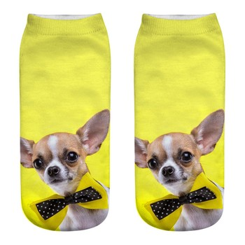 Calcetines ocasionales de negocios Unisex lindos calcetines de los deportes medios de la impresión del perro 3D calcetines 3D lindos calcetines de los deportes Multicolor nuevo A30525