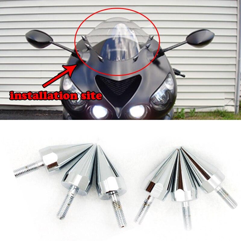 2 Spike Silver Billet Aluminum Motorcycle License Plate Frame Tag Bolts Screws