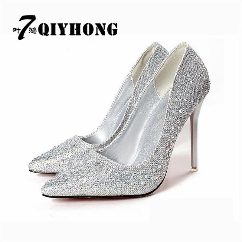 Wedding Silver Heels: QIYHONG (7 Ye Hong) 2017 New Fashion Sexy Ladies Crystal