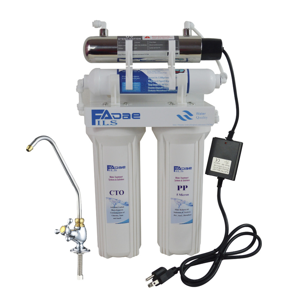 Household Four Stage Undersink Drinking Water Filtration System with 6W UV Sterlizer, Power:110 - 140V ,America standard plug high quality 3 stage undersink ion exchange resin drinking water filtration remove calcium and magnesium 1 4 quick connector