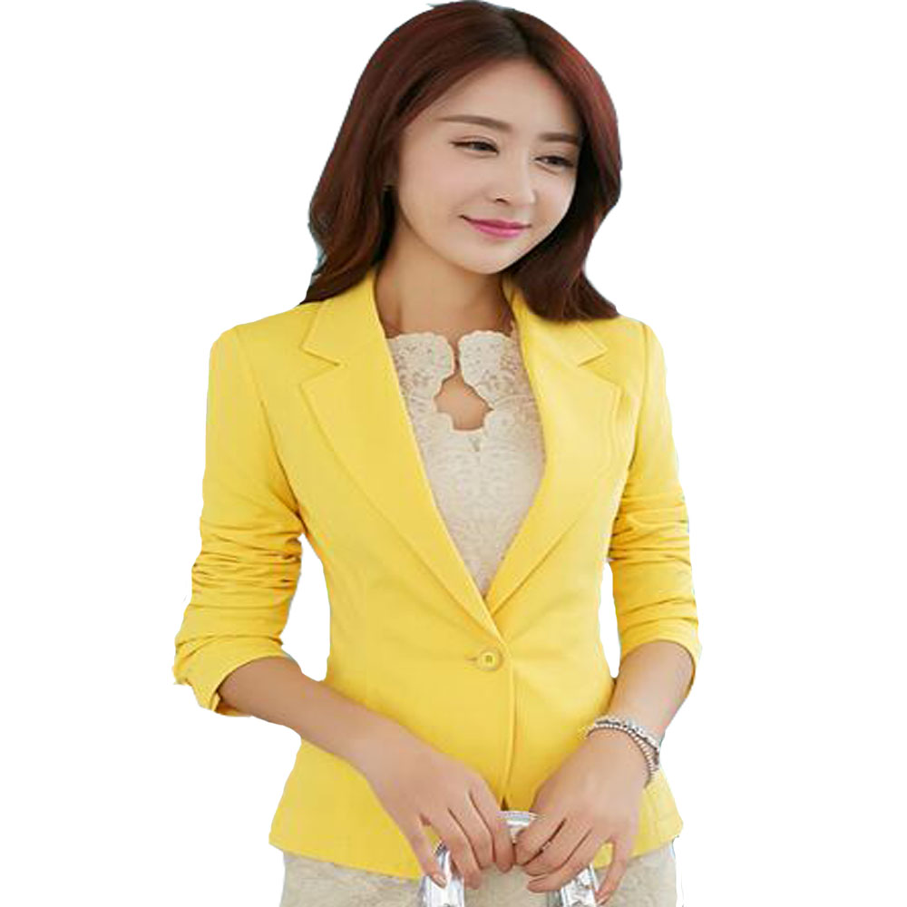 2017 Black Yellow Blue Formal Female blazer Jackets short blasers mujer Women's slim long sleeve woman suit coat Jacket