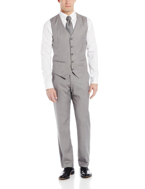 Handsome Slim Fit Gray Business Mens Vest Groomsman Vest Formal Occasion Vest Wedding/Prom/Dinner Waistcoat Casual Vest