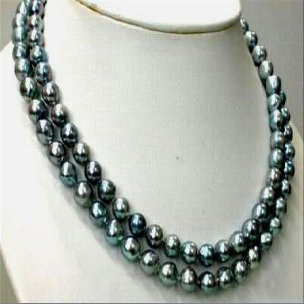 Véritable collier de perles noires 925 argent 35