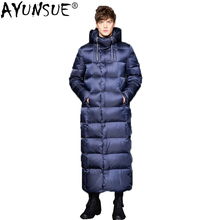 AYUNSUE 2020 New Goose Down Jacket Men Long Thick Korean Men #8217 s Winter Jackets Down Coat puffer jacket Doudoune Homme KJ1335 cheap Slim Casual zipper Full Pockets Zippers Thick (Winter) Broadcloth NYLON Polyester White goose down NONE 300g Solid X-Long
