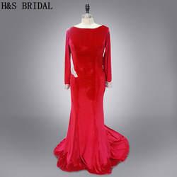 Реальные Фото сшитое Красный спинки пикантные с длинными рукавами вечернее Платья для женщин плюс Размеры Выпускные платья 2017