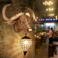 País da américa cabeça da vaca decorativa lâmpada de parede nordic cabeça da vaca decoração para casa luz industrial retro loft barra led walllamp