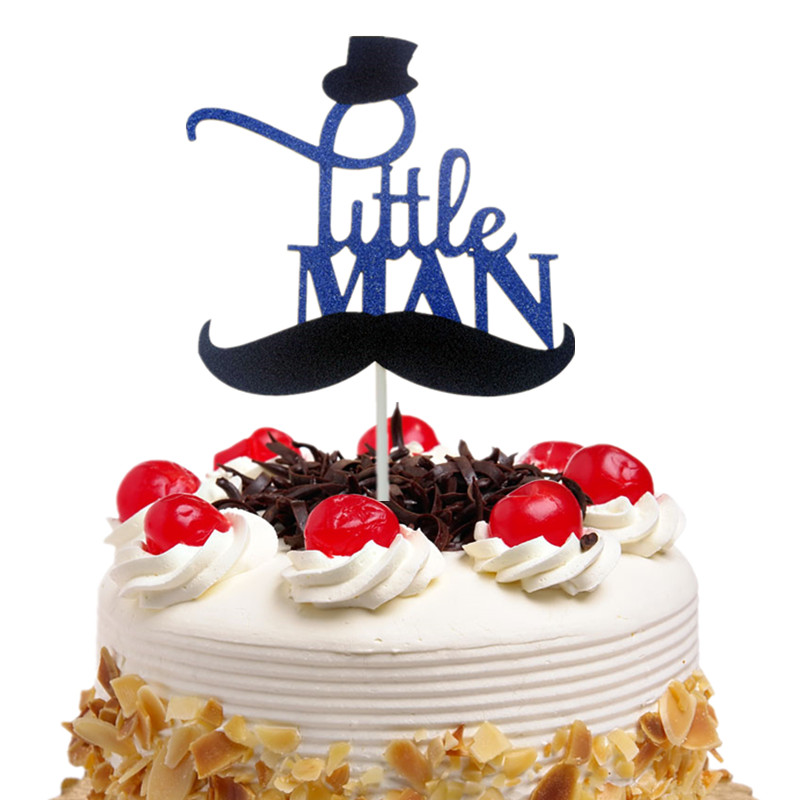 20pc Cake Toppers Flags Moustache Little Man Kids Birthday Cupcake
