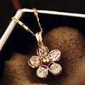 ААА цирконий цветок кулон тонкое ожерелье бижутерии розовое золото короткие ожерелья collares y colgantes драгоценность для женщин