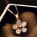AAA cubic zirconia joyería del oro de rose flor colgante, collar de la manera delgada corta joya collares collares y colgantes para las mujeres
