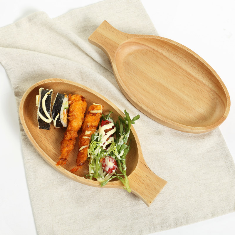 Japan Style Wooden Bowl with Handle Fish Shape Multi-Use Storage Tray Sushi Plate Eco Natural Wood Fruits/Dessert Dish Plate