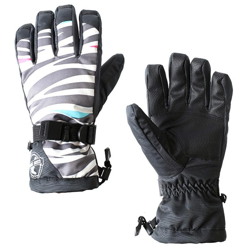 2017 New Gsou Snow Women Ski Glove Touch Screen Skid Windproof Waterproof Print Cycling Sport Wear Skiing Snowboard Female Glove