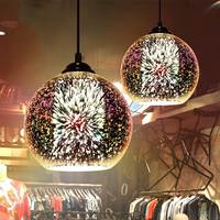 Colorful Modern Glass Ball Shape Pendant Light Round Panel Night Lamp Living Room Hallway Coffee Shop