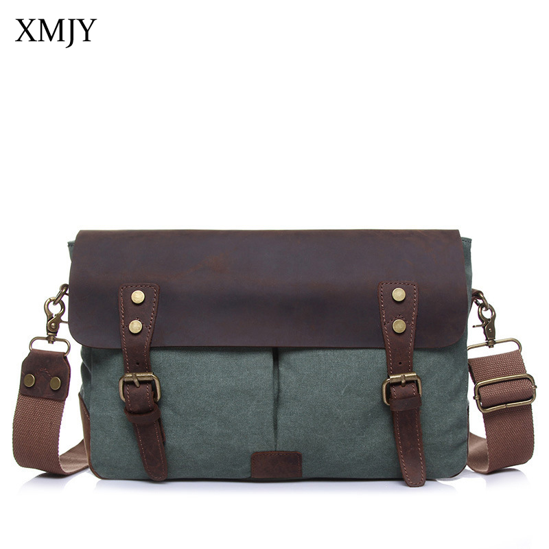 XMJY Men's Messenger Bag Multifunction Canvas With Leather Crossbody Bag High Quality Casual Vintage Travel School Shoulder Bags augur men s messenger bag multifunction canvas leather crossbody bag men military army vintage large shoulder bag travel bags
