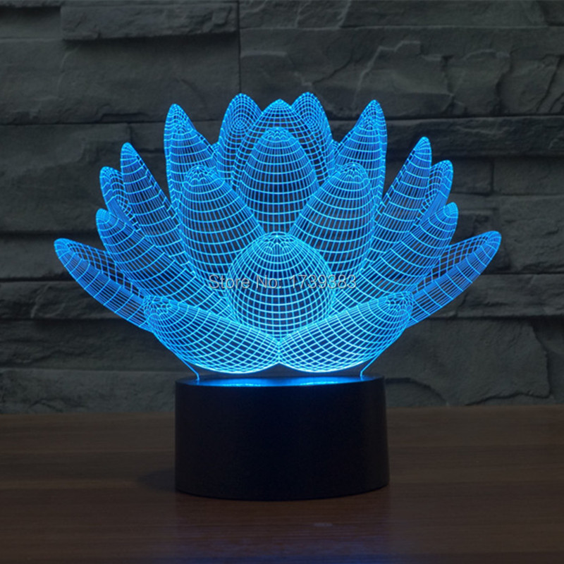Glowing 7 Color Changing Blooming Lotus Flower 3D Acrylic font b LED b font font b