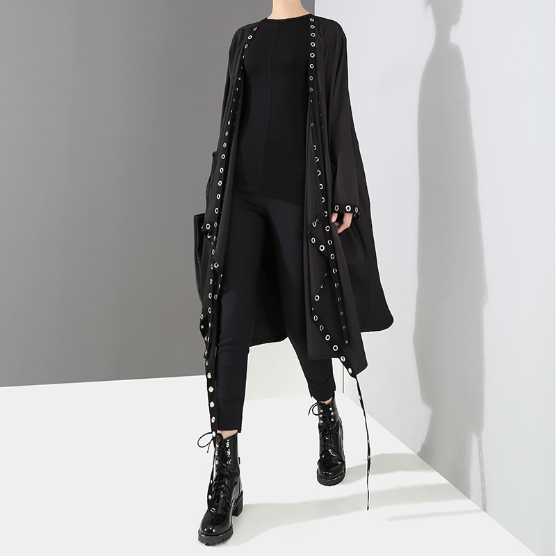 Image 2 - 2020 Korean Style Women Solid Black Unique Jacket Open Design Very Long Tape Metal Holes Female Stylish Loose Jacket Cloak 3843Jackets   -