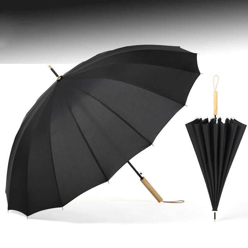 3bd0a229960c Yesello Macaron-color Long Umbrella 16K Windproof Smooth Wooden Handle  Large Men Umbrella Rain Black Elegantly Business Umbrella