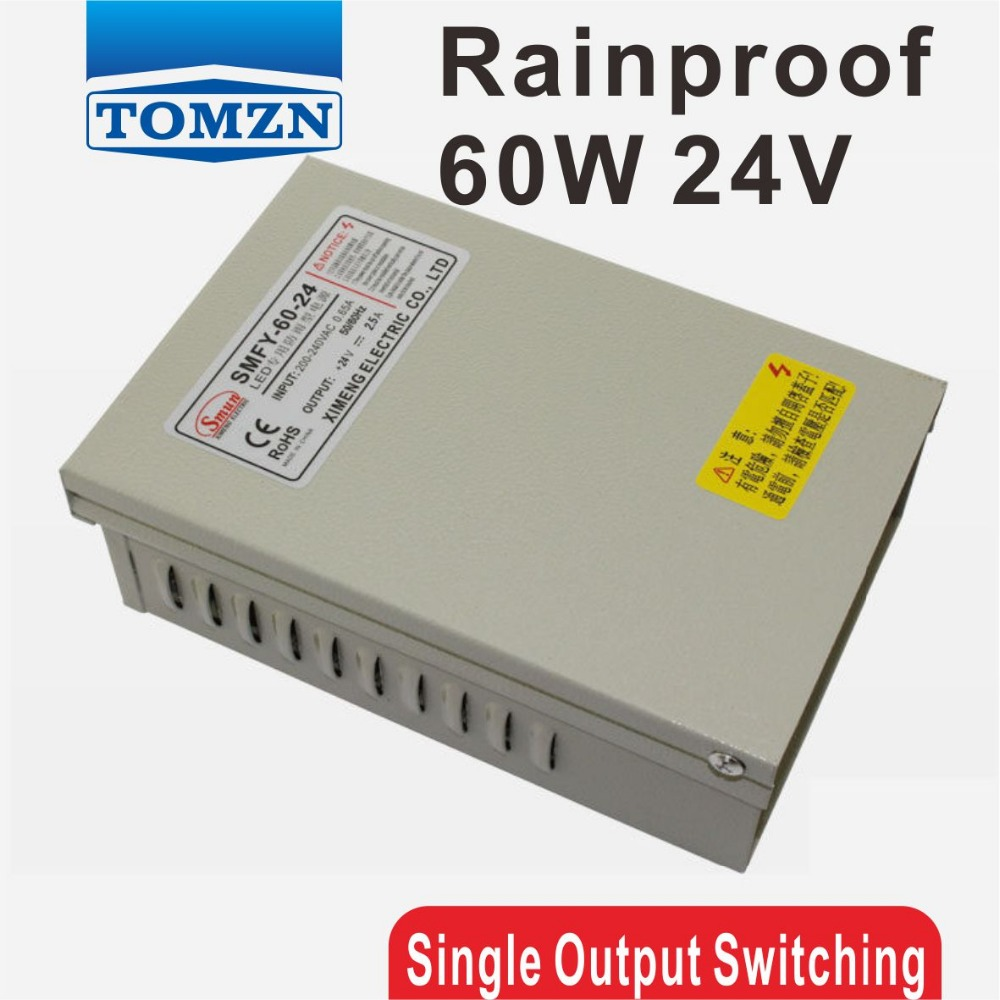 60W 24V 2.5A Rainproof outdoor Single Output Switching power supply smps AC TO DC for LED 60w 12v 5a waterproof outdoor single output switching power supply smps ac to dc