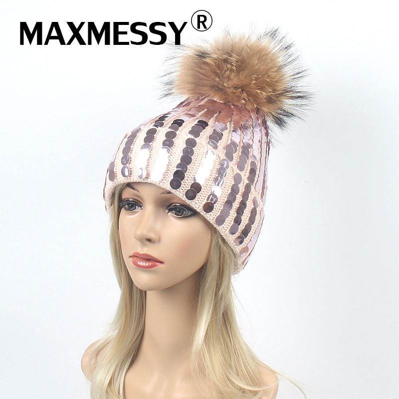 Maxmessy Winter Hat Women Knitted   Skullies     Beanies   Raccoon Fur Pompom Warm Ear Rhinestones Sequins Thickened Hat Multicolor Cap