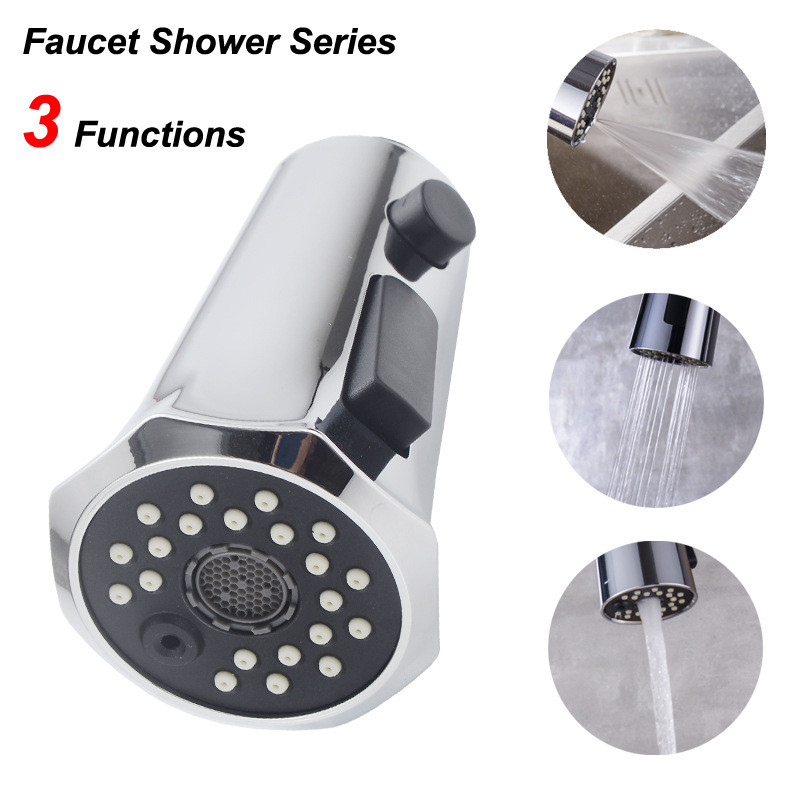 Sink Faucet Pull Head Accessories Horn Button Switch 3 Function Shower Head Bathroom Products  Shower Head  Spray Head   Chrome