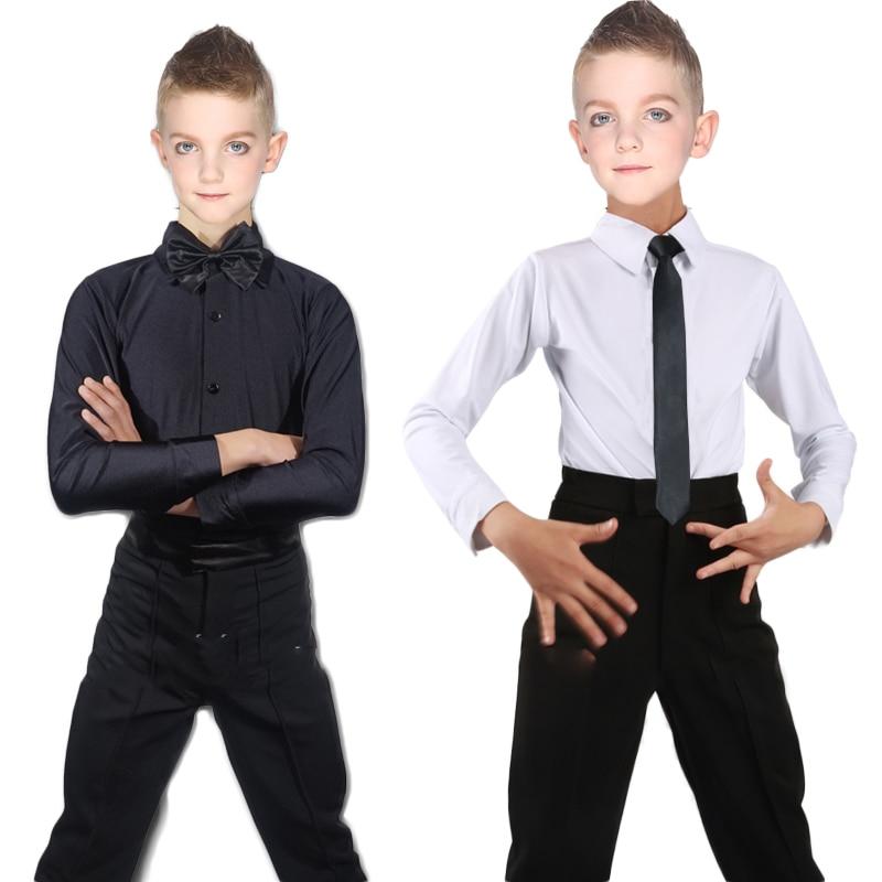 Boy Latin Dance Shirts Black White Dancing Tops Boys Men Salsa Samba Costume Competition Performance Dancewear Clothes DNV10297