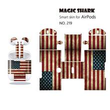 Magic Shark Fashion 1pc/lot Skull USA Flag Waterproof Case Cover Sticker Earphone Film for Airpods 216-225(China)