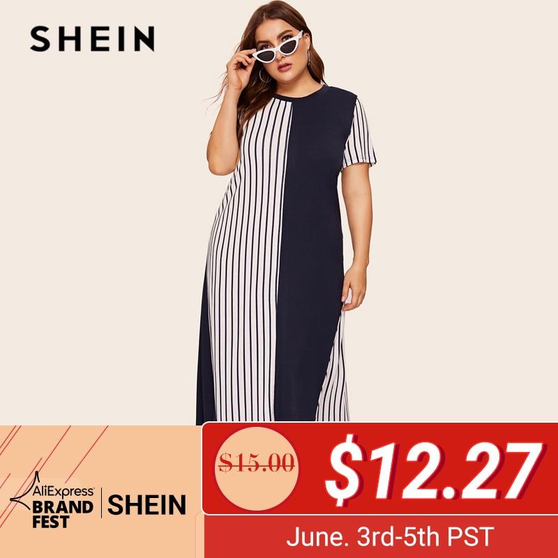 SHEIN плюс размер, темно-синее, с высоким низким подолом, цветное Полосатое платье в пол 2019, женское летнее Повседневное платье-туника с заниже...