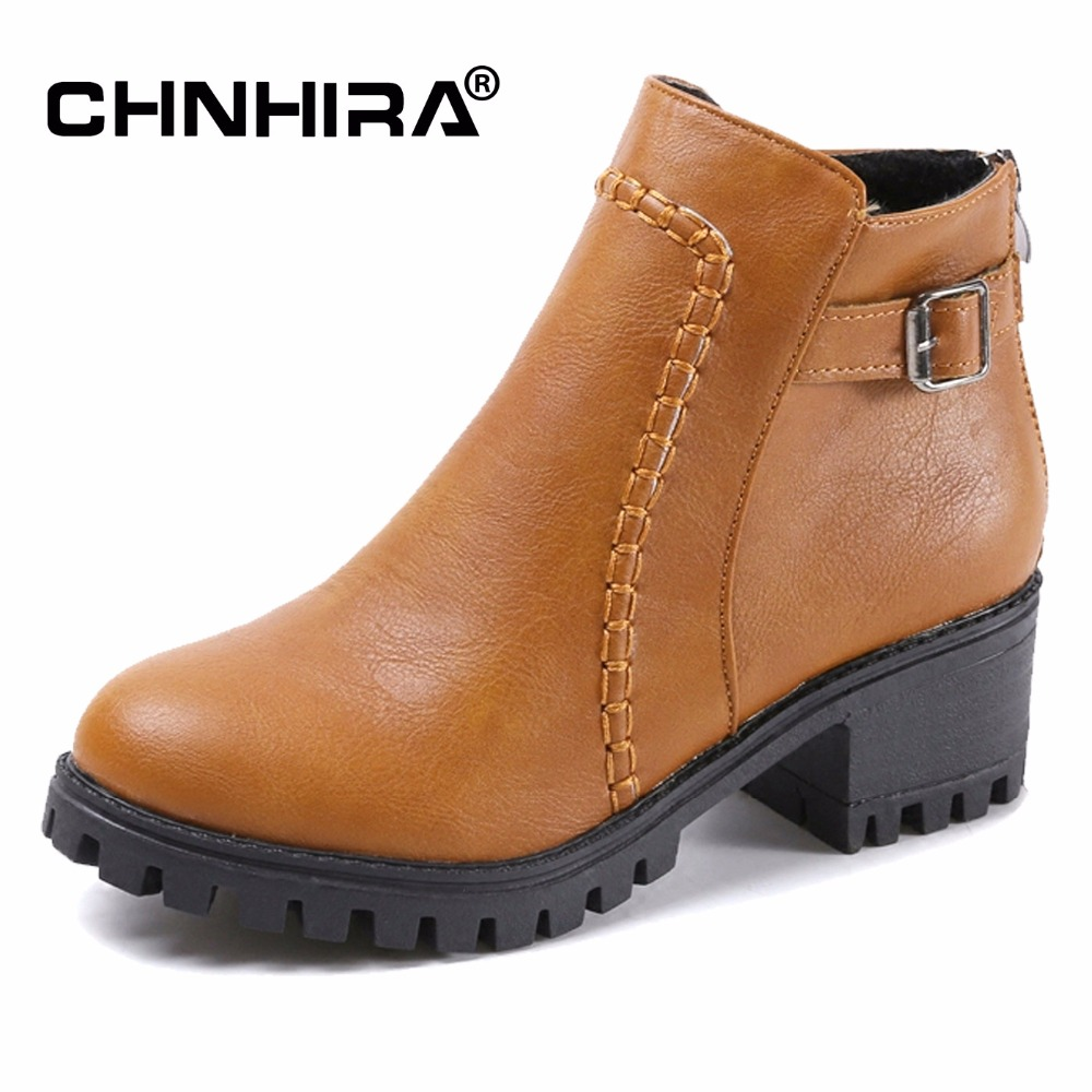 CHNHIRA Women Ankle Boots Shoes Autumn Fall Spring Waterproof Buckle Leather Shoes For Woman Short Booties Plus Size35~43#CH2057 fall flat black waterproof 2017 women shoes retro front lace up casual ankle boots autumn patent leather chunky booties vintage