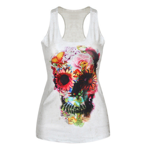 Women Floral Skull Print Fitness Casual Vest Workout Seamless Summer Aerobics Exercise Stretch Tank Top Hiphop Fiber Soft