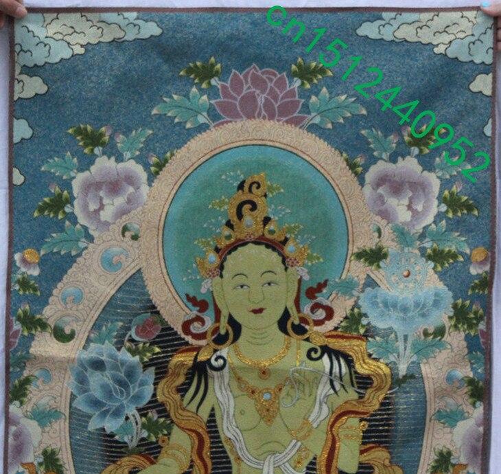 "36/"" Tibet Buddhism Silk Cloth Kwan-Yin Guanyin Goddess Thangka Painting Mural 20"