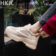 HKJL 2019 new female Korean version of white casual sports shoes thick bottom muffin bottom sports shoes running shoes A610 new autumn female shoes korean thick bottom platform increased single shoe woman muffin bottom lace up student sport shoes white