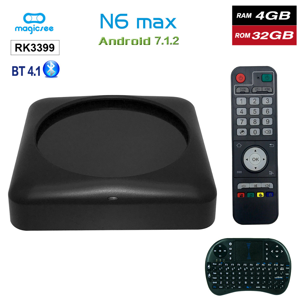 Magicsee N6 Max RK3399 Android 7.1 TV BOX 4G 32G Rom 2.4 + 5G double Wifi 1000M LAN BT 4.1 Smart Box 4K décodeur