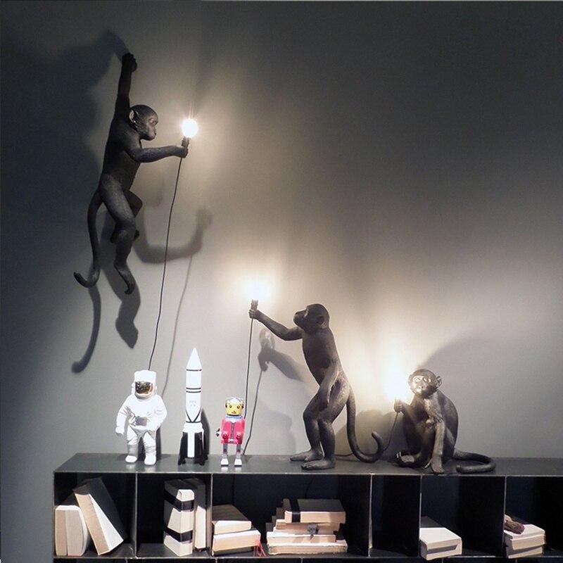 Noir singe lampe chanvre corde pendentif lumière mode Simple Art nordique répliques résine Seletti suspendus luminaires décor à la maison