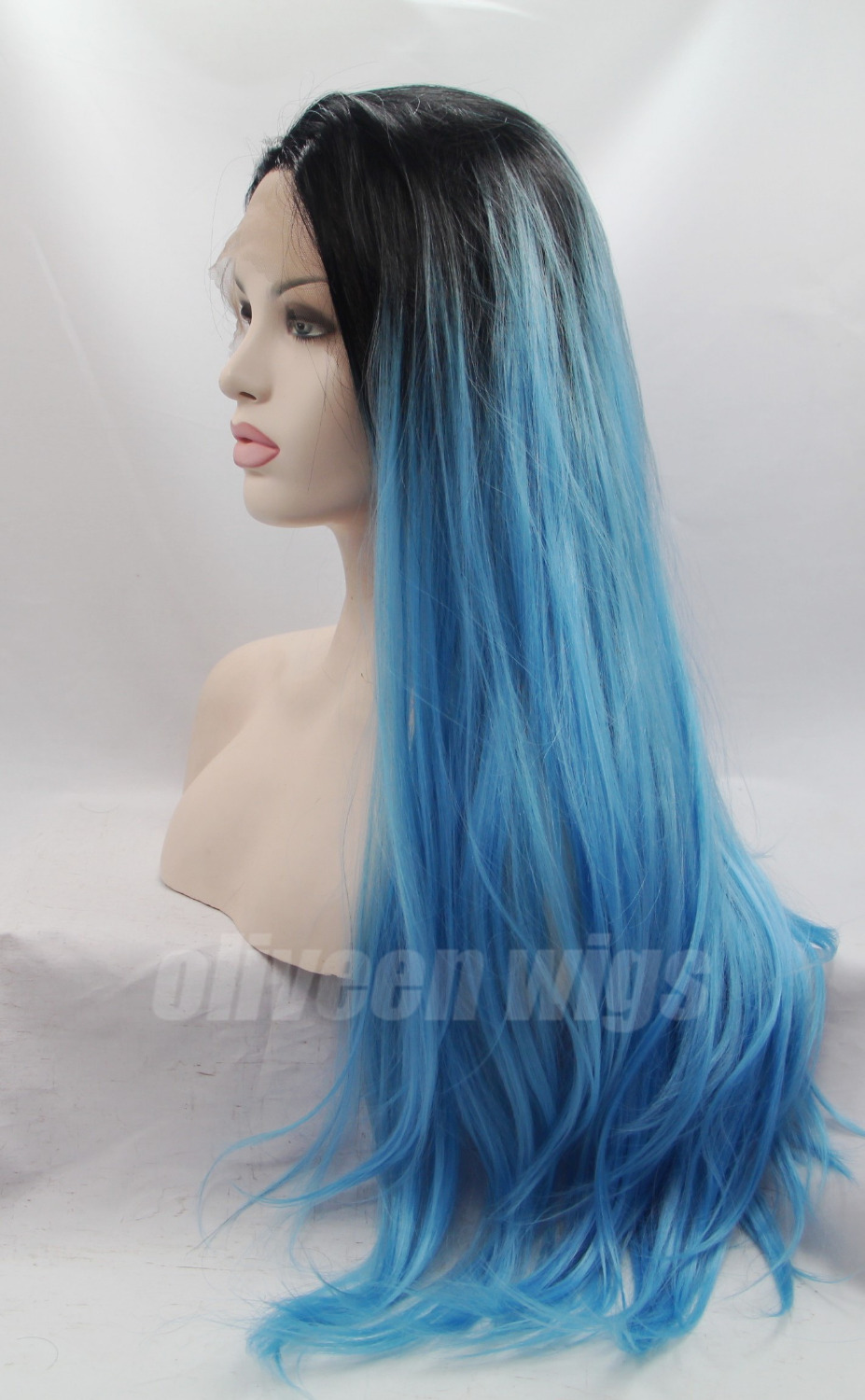 Oliveen Custom Wigs Two Tone Hair Color Black And Blue Lace Front