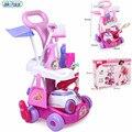 Nueva llegada niñas play house toys simulación niños carro de limpieza con herramienta de la aspiradora de higiene con muebles de la muñeca de regalo