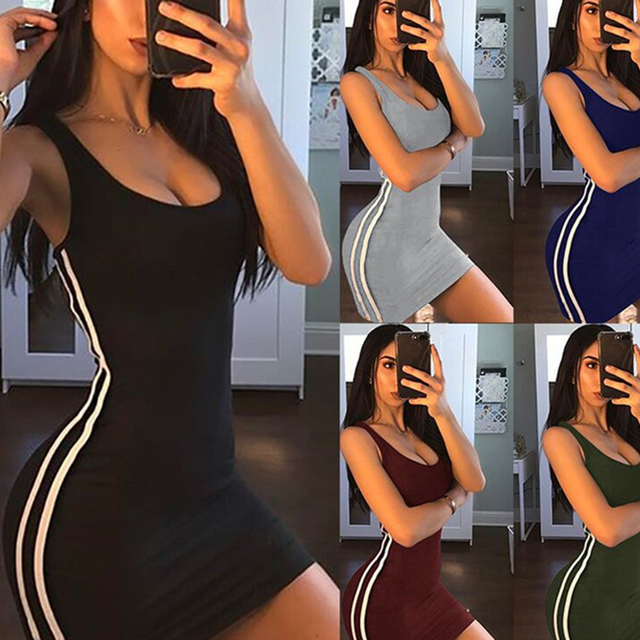 DICLOUD Casual Tight Dress Women Fashion 2019 Sexy Stretch Slim Dresses Ladies Summer Striped Tank Mini Dress Plus Size Vestidos