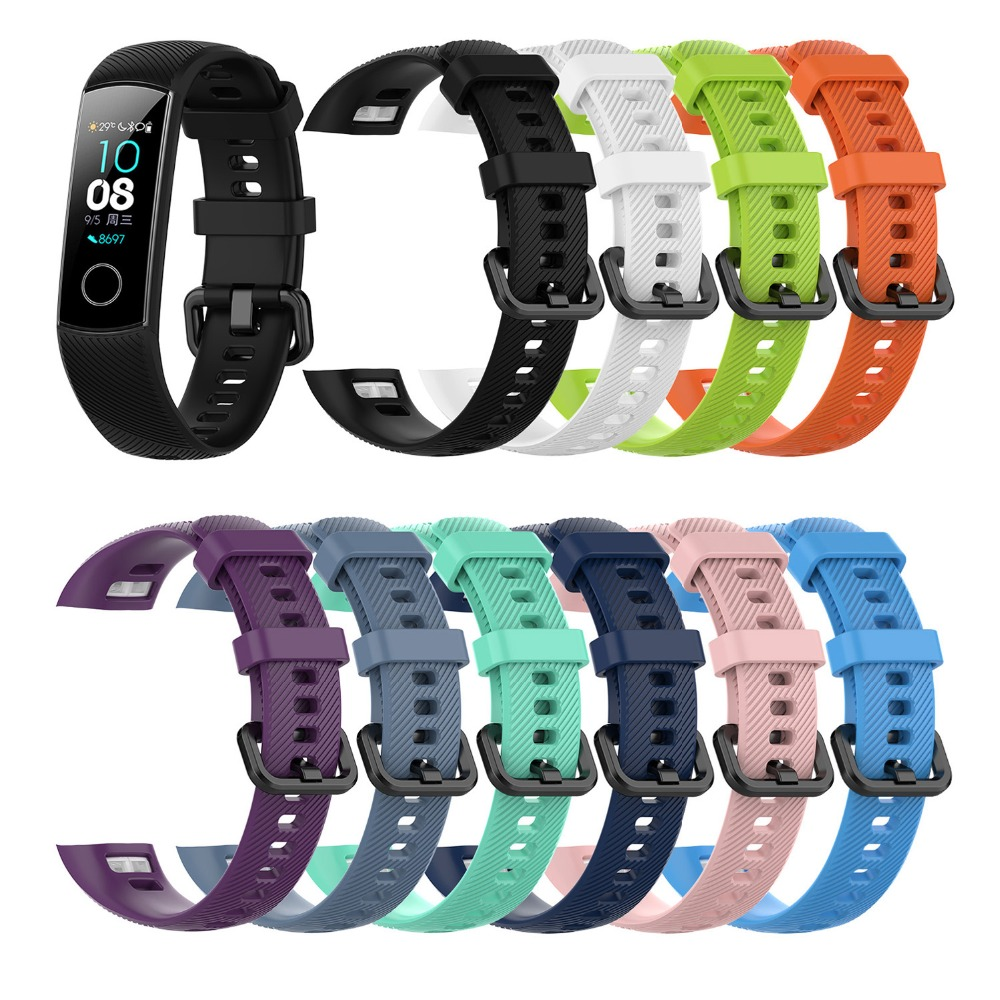 In Stock Silicone Wrist Strap For Huawei Honor Band 4 Standard Version Smart Wristband Sport Bracelet Band Honor Band 5 Correa