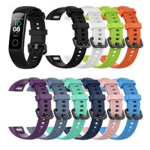 In Voorraad Siliconen Polsband Voor Huawei honor Band 4 Standaard Versie Smart Polsband Sport Armband Band honor band 5 correa(China)