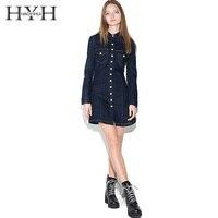 HYH HAOYIHUI Womens Vintage Slim denim ling sleeve Mini Dress Pockets Fashion Lady Short Dresses for wholesale Women Vestidos