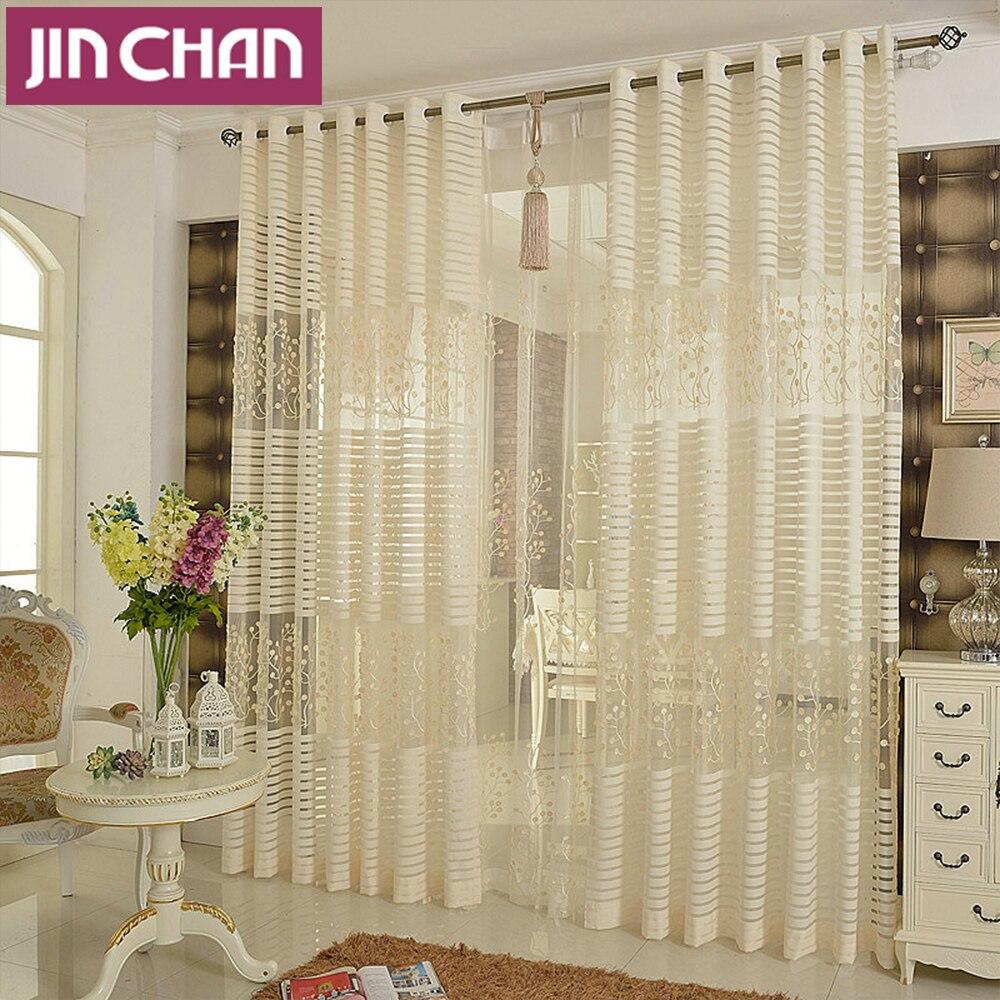Plantas emboridered moderna ventana de tul pura cortinas for Cortinas de castorama pura