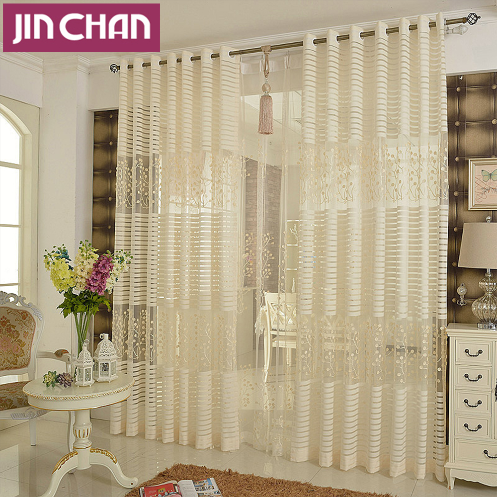 Plants Emboridered Modern Window Tulle Curtains For Living