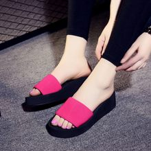 Cute Slope Slippers Flip Flops New Non-slip Shoe Casual Thick Crust Sandals Summer Thick-soled High Heel Indoor Sandals(China)