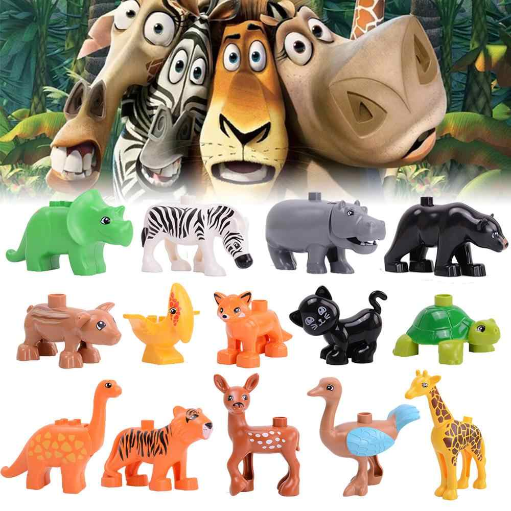 Duplos building blocks animals Jurassic Dinosaur World Park animal model DIY toys compatible with large particles kids toy gift