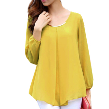 2017 NEW Women's Chiffon Long Sleeve Slim O-neck Casual Blouse Tops Shirt Yellow