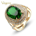 VOGEM alliance Gold 585 Green Stone Rings For Women Rose Gold Plated Created Emerald Vintage March 8 Gifts Rings Jewelry anillos