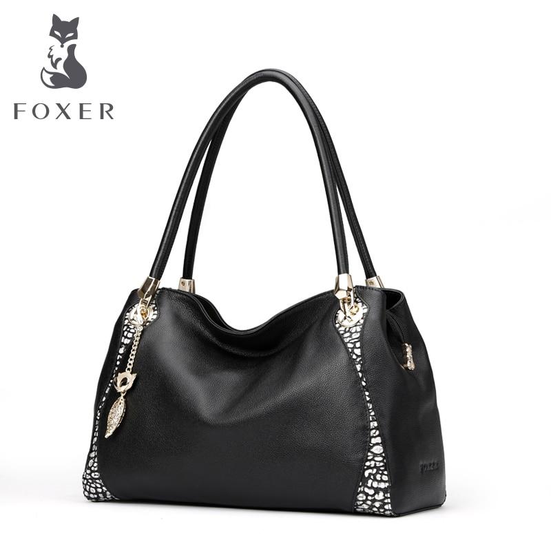 FOXER Women s Real Cowhide Genuine Leather fashion color portable shoulder bag Women handbag Female bags