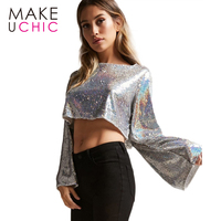 MAKEUCHIC New Female Fashion Pullover Tee Sequined Gold Women Sexy Long Sleeve Crop Tops Women Bow