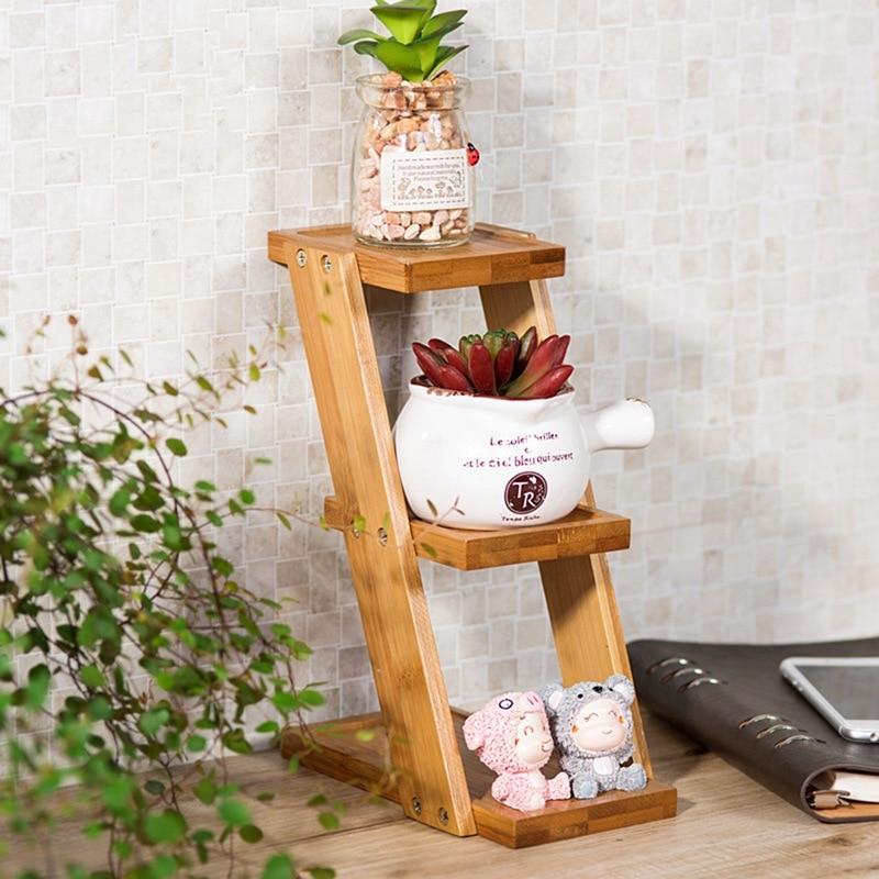 kitchen organizer bamboo flower rack 3 tier flower shelves flower pot stand small plants table. Black Bedroom Furniture Sets. Home Design Ideas
