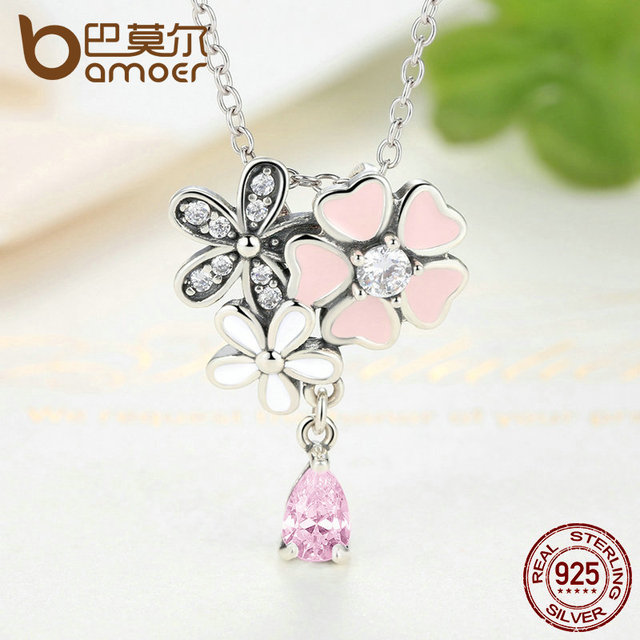 Sterling Silver Pink Heart Blossom Cherry Flower Necklace