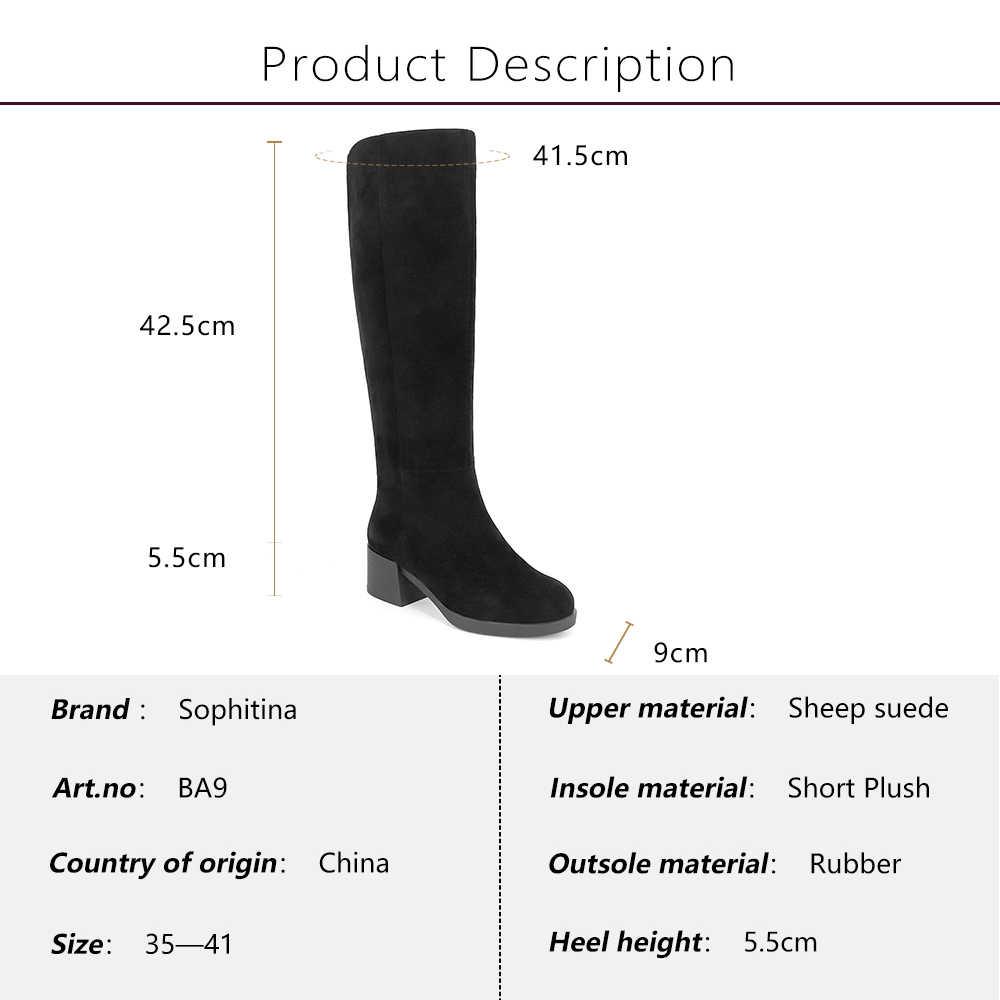 SOPHITINA חדש חורף מגפי נשים אמיתי עור כבשים זמש נעלי קטיפה קצרה באיכות גומי בלעדי חם בגובה הברך מגפי BA9